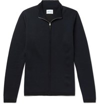 Norse Projects Fjord Coolmax And Merino Wool Blend Zip Up Sweater Navy