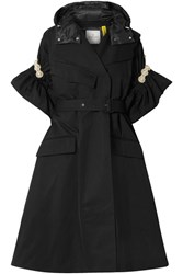 Moncler Genius 4 Simone Rocha Faux Pearl Embellished Shell Trench Coat Black