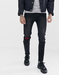 Liquor N Poker Skinny Jeans In Washed Black With Abrasion Check Patches