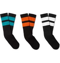 Neighborhood Three Pack Ribbed Striped Cotton Blend Socks Black