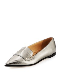 Jimmy Choo Gia Metallic Leather Loafer Vintage Silver
