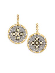 Freida Rothman Metropolitan Hammered Floral Drop Earrings Gold Silver