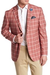 Original Penguin Red Windowpane Two Button Notch Lapel Wool Blend Sport Coat