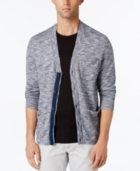 Calvin Klein Men's Mixed Media Cardigan Midnight Plum
