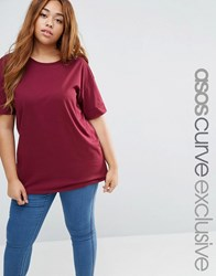Asos Curve Oversized Tunic T Shirt Berry Red