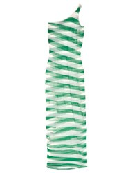 Stella Mccartney Striped Sheer Knit Midi Dress Green Stripe