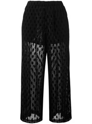 Mcq By Alexander Mcqueen Cropped Sheer Trousers Women Polyamide Polyester Spandex Elastane Viscose 42 Black