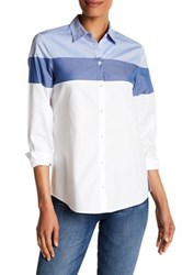 Foxcroft Long Sleeve Colorblock Shirt White