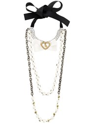 Twin Set Multi Layered Long Necklace Black