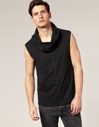 Asos Cowl Neck Button Through T Shirt Black