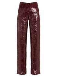 Ashish Sequinned High Rise Trousers Burgundy
