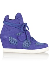 Ash Cool Suede And Mesh Wedge Sneakers Blue