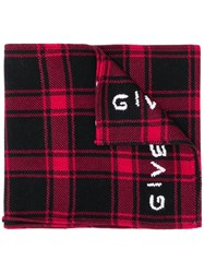 Givenchy Plaid Logo Scarf Red