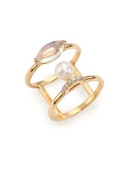 Phyne By Paige Novick Olivia 5Mm White Akoya Pearl Moonstone Diamond And 14K Yellow Gold Double Band Ring