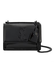 Saint Laurent Small Sunset Monogram Bag Women Patent Leather Brass One Size Black