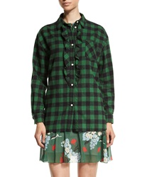 Red Valentino Plaid Oversized Ruffed Front Blouse Green