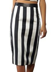 Kendall Kylie Striped Pencil Skirt White Black