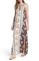 Angie Print Keyhole Maxi Dress Charcoal