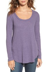 Hinge Women's Shirred Back Thermal Tee Purple Night