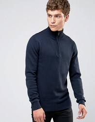 Selected Homme Roll Neck Knit With Zip Neck Detail Navy