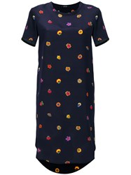 Paul Smith Ps By Floral Print T Shirt Dress Blue