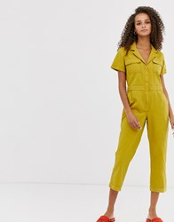 Moon River Utility Style Jumpsuit Yellow