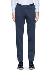 Isaia Cotton Slim Fit Chinos Blue