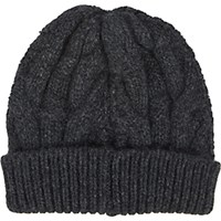 Barneys New York Women's Cable Knit Beanie Dark Grey