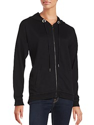 Nanette Lepore Lace Up Back Long Sleeve Hoodie Black