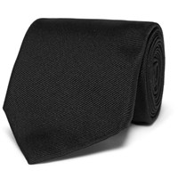 Alexander Mcqueen 7Cm Embroidered Silk Twill Tie Black