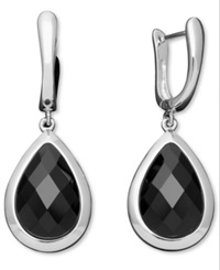 Macy's Sterling Silver Earrings Faceted Onyx Teardrop Earrings 15 20Mm