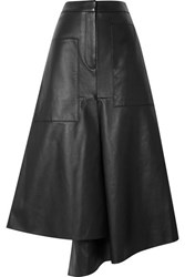 Tibi Tissue Asymmetric Leather Midi Skirt Black