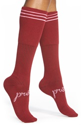 Kensie Stripe Cuff Knee High Socks Cabernet