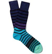 Paul Smith Striped Cotton Blend Socks Blue