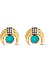 Noir Jewelry Woman Moon 14 Karat Gold Plated Stone And Crystal Earrings Gold