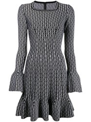 Alaia Fluted Knit Dress Black