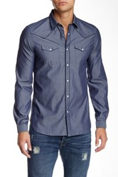 The Kooples Woven Long Sleeve Fitted Shirt Blue