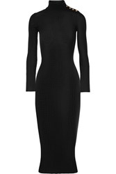 Balmain Embellished Ribbed Wool Sweater Dress Black