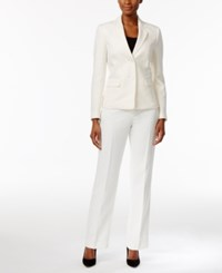 Le Suit Tonal Tweed Pantsuit Ivory