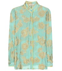 Etro Metallic Silk Blend Blouse Multicoloured