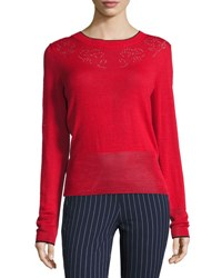 Rag And Bone Adriana Pointelle Sweater Red