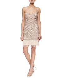 Aidan Mattox Beaded Cocktail Dress W Fringe Hem