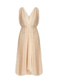 Maria Lucia Hohan Eudora V Neck Star Embroidered Tulle Dress Ivory