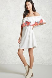 Forever 21 Floral Off The Shoulder Dress Cream Fuchsia