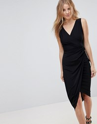 Wal G Wrap Front Midi Dress Black