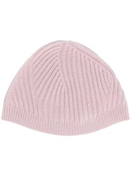 Pringle Of Scotland Travelling Ribbed Beanie Hat Pink