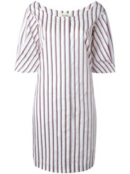 Isa Arfen Scoop Neck Striped Dress White