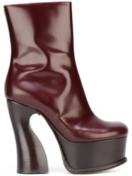 Maison Martin Margiela 'Rebel' High Heel Ankle Boots Red