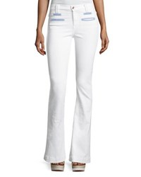 7 For All Mankind Tailored Chambray Trim Trouser White
