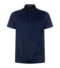 Boss Triangle Print Polo Shirt Male Navy